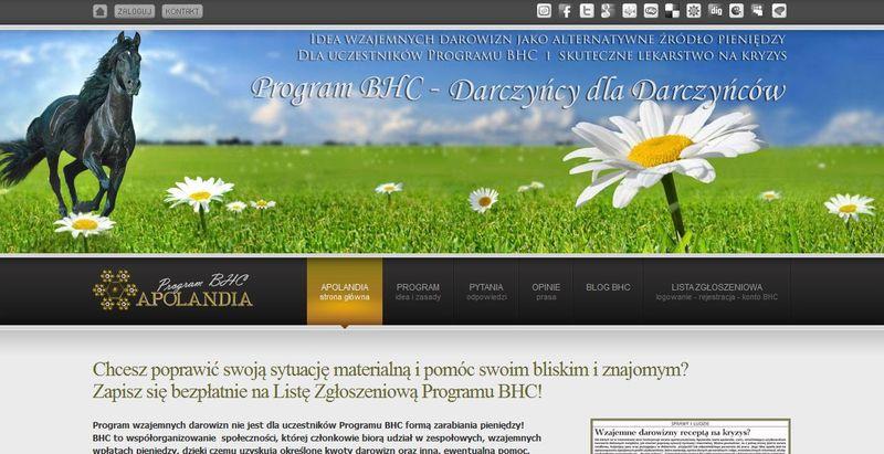 Widok strony głównej, źródło: Apolandia.com