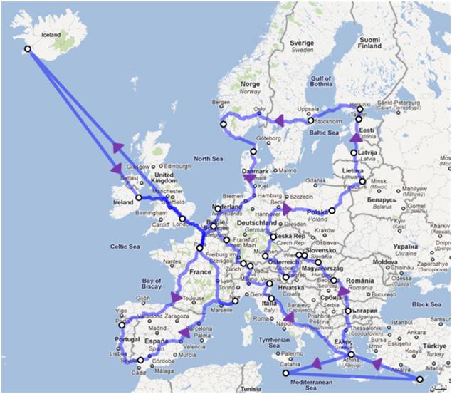 Mapka podróży Jana Lachnera
